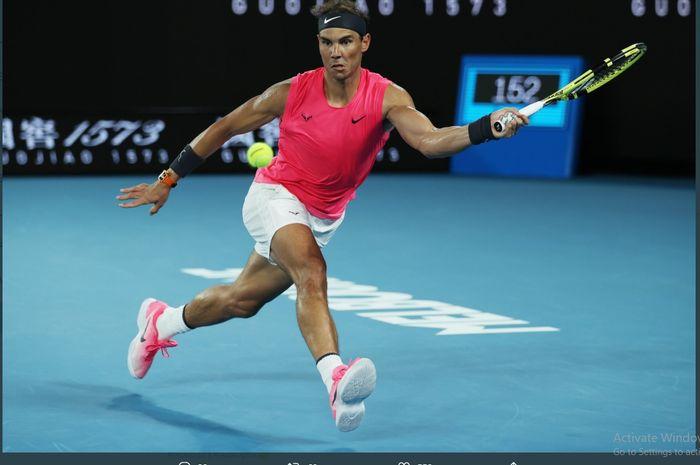 Rafael Nadal berlaga di Australian Open 2020.