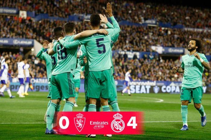 Real Madrid mengalahkan Real Zaragoza di babak 16 besar Copa del Rey, 29 Januari 2020.