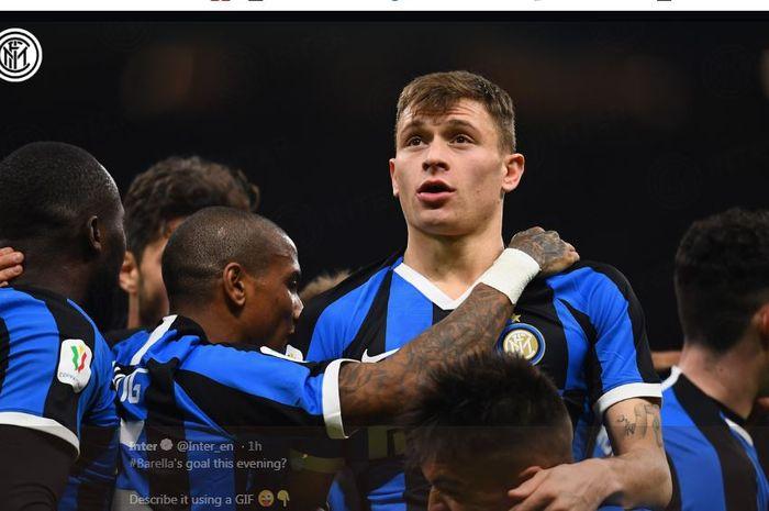 Nicolo Barella mencetak gol kemenangan Inter Milan atas Fiorentina di perempat final Coppa Italia, 29 Januari 2020.