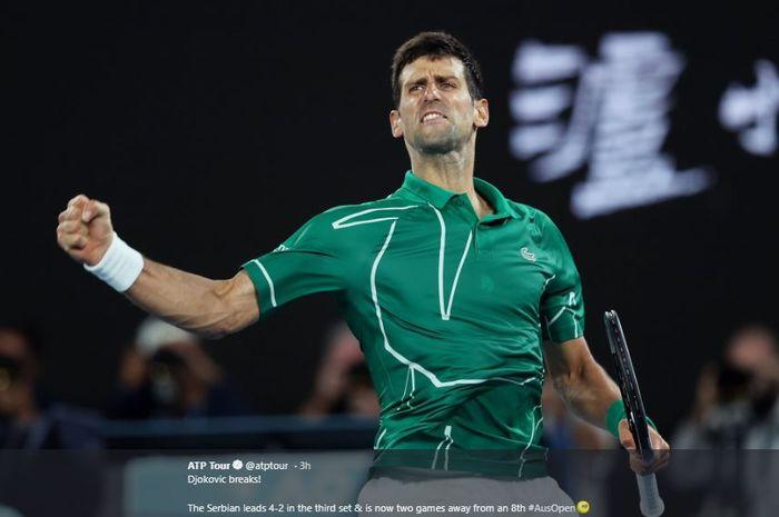 Ekspresi petenis Serbia, Novak Djokovic usai menang pada babak semifinal Australian Open 2020, Kamis (30/1/2020)