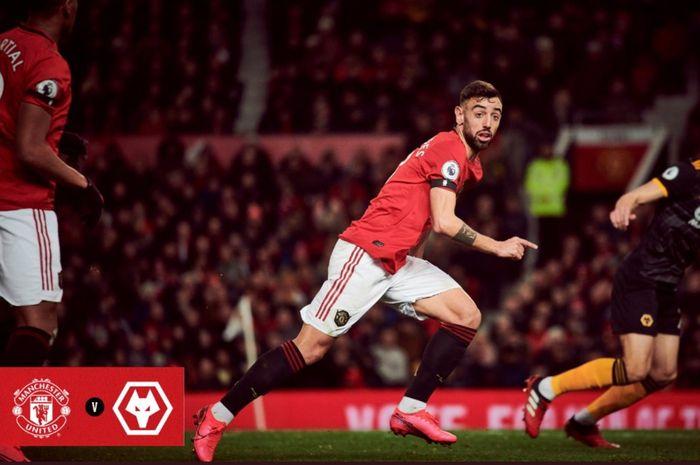 Bruno Fernandes beraksi dalam laga Manchester United vs Wolverhampton pada pekan ke-25 Liga Inggris, Sabtu (1/2/2020) di Old Trafford.