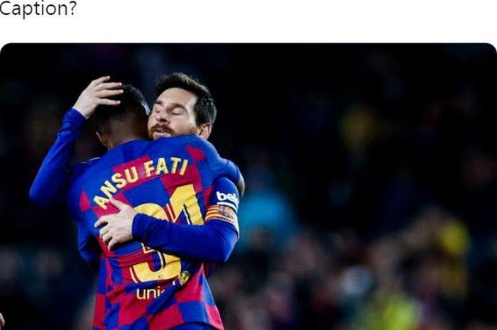 Penyerang Barcelona, Ansu Fati, merayakan golnya bersama Lionel Messi dalam laga Liga Spanyol melawan Levante di Stadion Camp Nou, Minggu (2/2/2020).