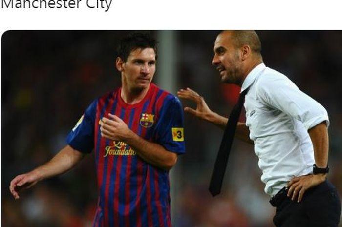 Megabintang Barcelona, Lionel Messi, mendapat arahan dari pelatih Pep Guardiola.