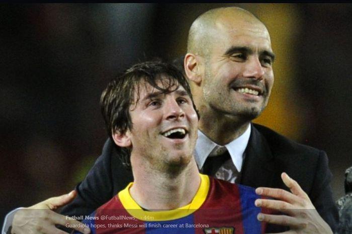 Lionel Messi dan Pep Guardiola saat masih sama-sama di Barcelona.