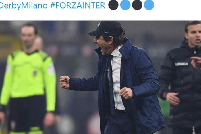Ekspresi pelatih Inter Milan, Antonio Conte, seusai laga Liga Italia melawan AC Milan di Stadion Giuseppe Meazza, Minggu (9/2/2020).