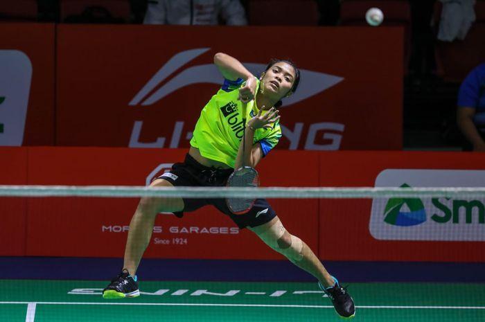 Aksi Gregoria Mariska Tunjung pada babak perempat final Kejuaraan Beregu Asia 2020, Manila, Jumat (14/2/2020)