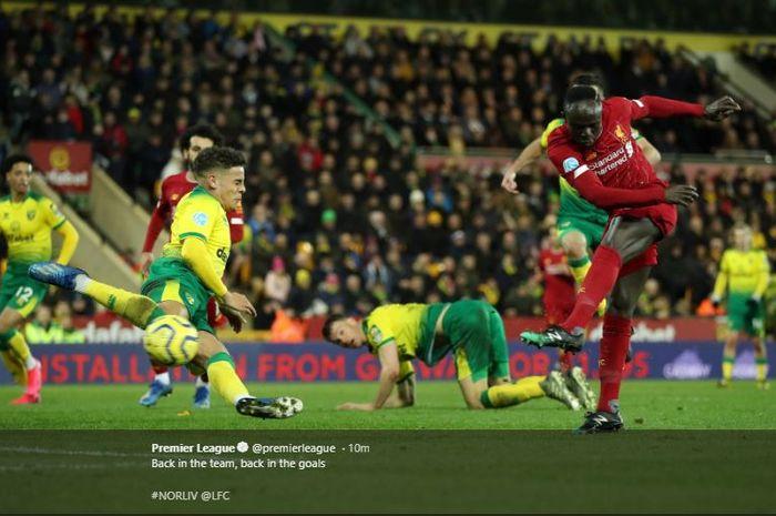 Sadio Mane membawa Liverpool menang atas Norwich di Carrow Road, pada laga pekan ke-26 Liga Inggris, Sabtu (15/2/2020).