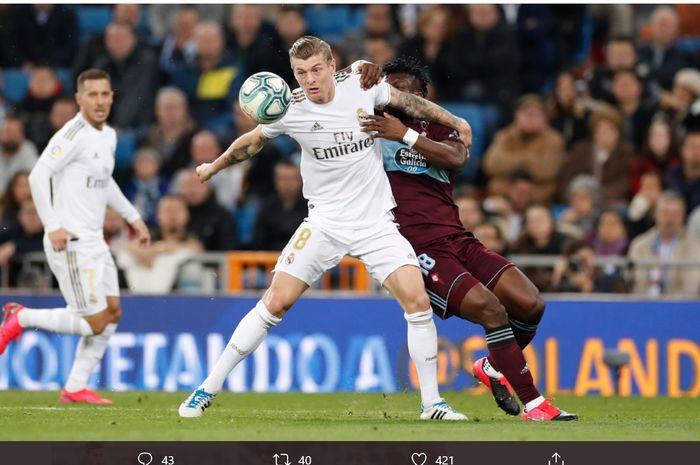 Gelandang Real Madrid, Toni Kroos, dalam laga melawan Celta Vigo pada pekan ke-24 Liga Spanyol, Minggu (16/2/2020) di Santiago Bernabeu.