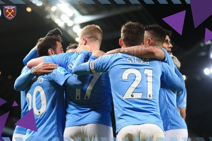 Para pemain Manchester City merayakan gol yang dicetak oleh Kevin De Bruyne dalam laga Liga Inggris kontra West Ham United di Stadion Etihad, Rabu (19/2/2020).