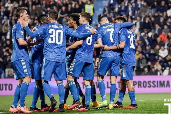 Pemain Juventus merayakan gol di laga kontra SPAL pada lanjutan pekan ke-25 Liga Italia.