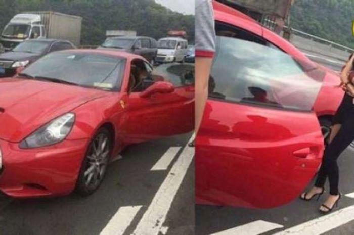 Wanita tabrak mobil di depannya