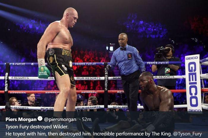 Aksi Tyson Fury saat menganvaskan Deontay Wilder, Minggu (23/2/2020