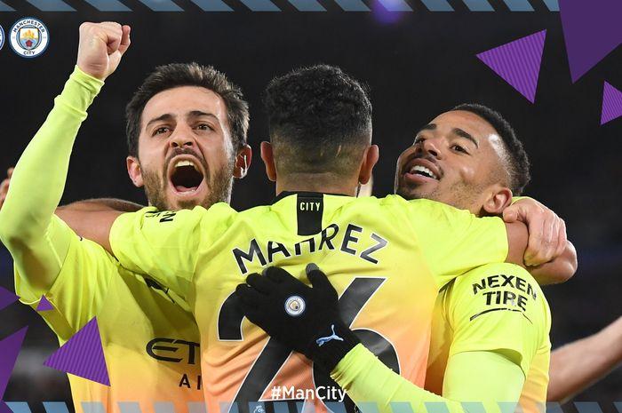 Selebrasi pemain Manchester City saat merayakan kemenangan atas Leicester City di King Power Stadium, Sabtu (22/2/2020).