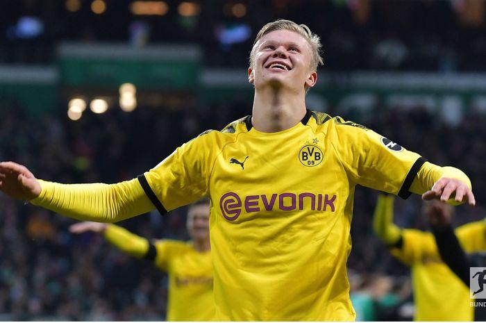 Erling Haaland, mencetak gol ke-9 dalam 6 penampilan di Bundesliga bersama Borussia Dortmund.