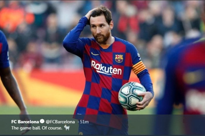 Ekspresi megabintang Barcelona, Lionel Messi, dalam laga Liga Spanyol kontra Eibar di Stadion Camp Nou, Sabtu (22/2/2020).