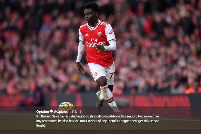 Pemain serba bisa Arsenal, Bukayo Saka.
