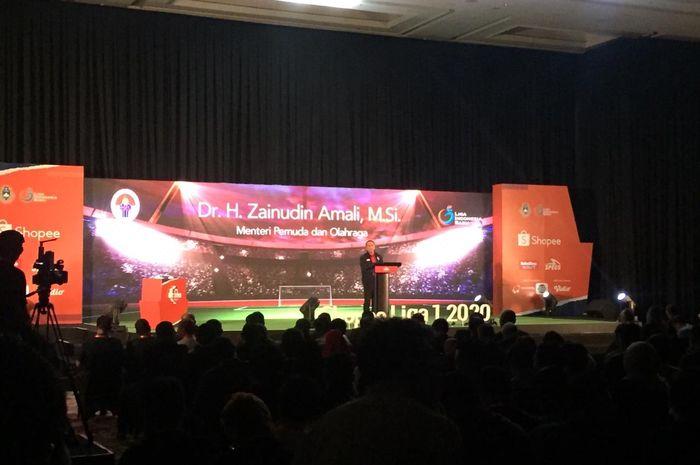 Menteri Pemuda dan Olahraga, Zainudin Amali, memberikan sambutan di acara launching Shopee Liga 1 2020 di Hotel Fairmont, Senin (24/2/2020).