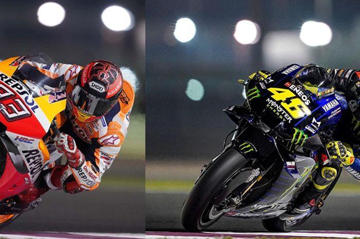Marc Marquez dan Valentino Rossi sama-sama pemegang rekor titel juara dunia MotoGP keteteran di tes pramusim MotoGP 2020 Qatar hari kedua