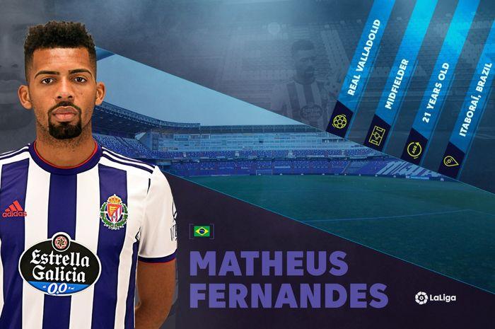 Gelandang Barcelona yang sedang menjalani masa peminjaman di Real Valladolid, Matheus Fernandes, salah satu rising star di LaLiga saat ini.