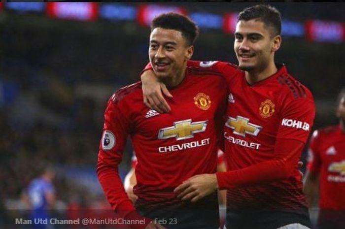 Dua pemain Manchester United yang kabarnya akan dilepas pada bursa transfer musim panas 2020, Jesse Lingard (Kiri) dan Andreas Pereira.