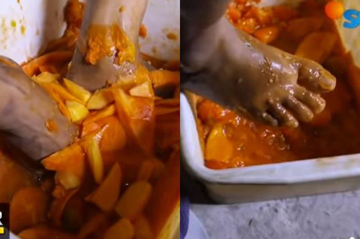 Bikin Mual! Viral Video Pembuatan Saus Tomat Busuk yang Diinjak dengan Kaki! Pedagang Mengaku Tak Pernah Cuci Kaki, 'Orang Kan Nggak Tau Mas!'