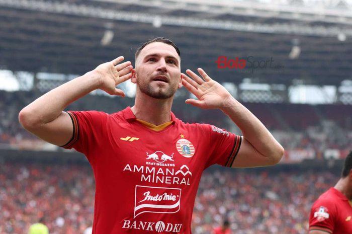 Marko Simic merayakan gol yang dicetaknya dalam laga Persija vs Borneo FC di pekan pertama Shopee Liga 1 2020, Minggu (1/3/2020) di Stadion Utama Gelora Bung Karno, Jakarta.
