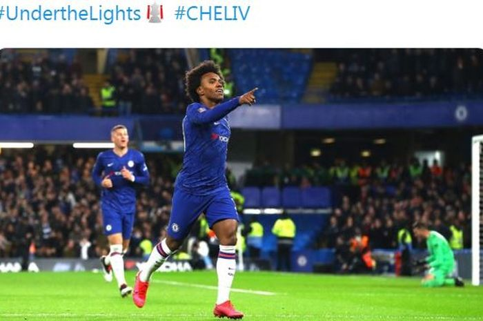 Winger asal Brasil, Willian, merayakan gol yang dicetaknya untuk Chelsea