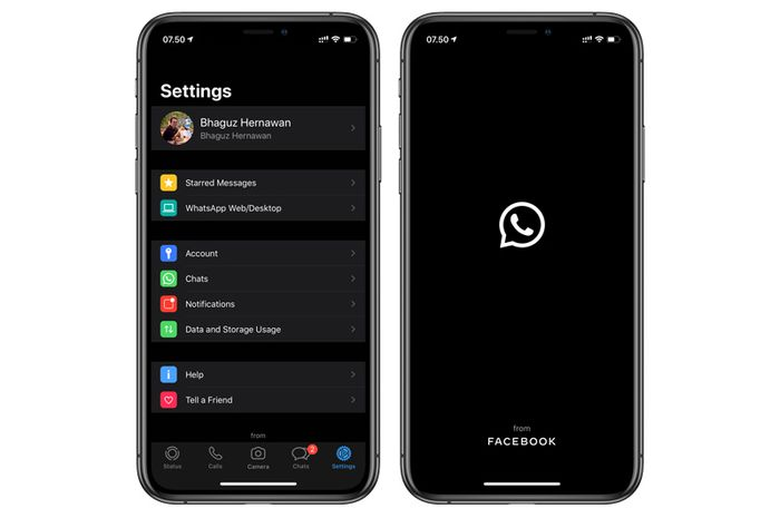 WhatsApp Dark Mode di iOS 13
