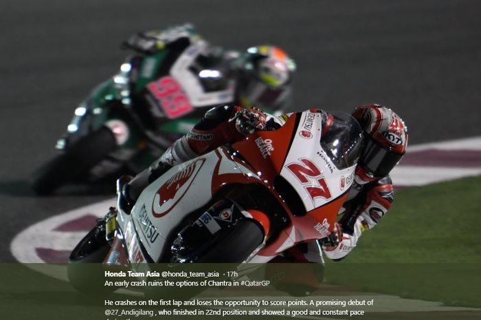 Aksi pembalap asal Indonesia, Andi Gilang, pada seri perdana Moto2 2020 di Sirkuit Losail, Qatar, Minggu (8/3/2020)