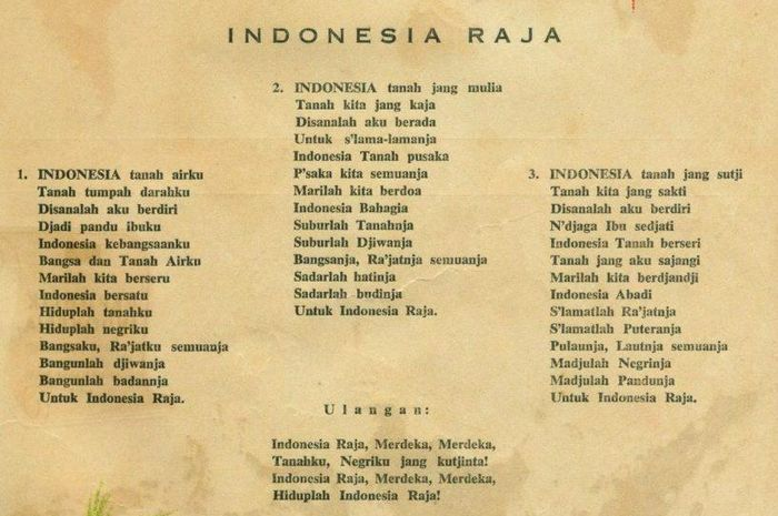 Syair lagu Indonesia Raya.