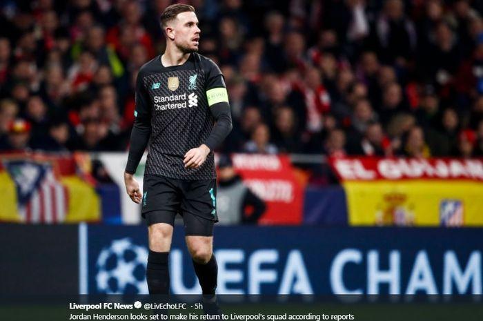Kapten Liverpool, Jordan Henderson, dilaporkan bakal memperkuat tim kala menjamu Atletico Madrid pada leg kedua babak 16 besar Liga Champions di Stadion Anfield, Rabu (18/3/2020).