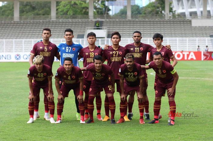 Skuat PSM Makassar saat menjamu Kaya FC-Iloilo dalam lanjutan Piala AFC 2020, Selasa (10/3/2020) di Stadion Madya, Senayan, Jakarta.