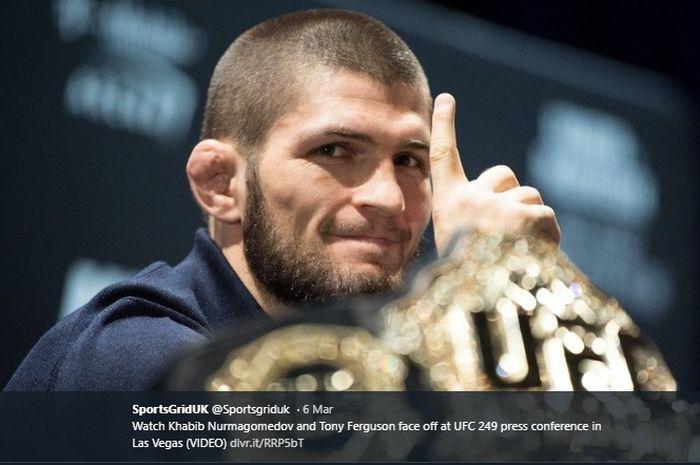 Petarung UFC asal Rusia, Khabib Nurmagomedov, saat jumpa pers jelang pertandingan melawan Tony Ferguson pada ajang UFC 249.