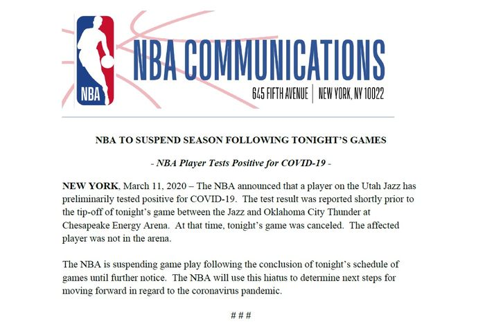 Pernyataan NBA setelah mereka secara resmi menghentikan sementara waktu musim 2020, Kamis (12/3/2020).