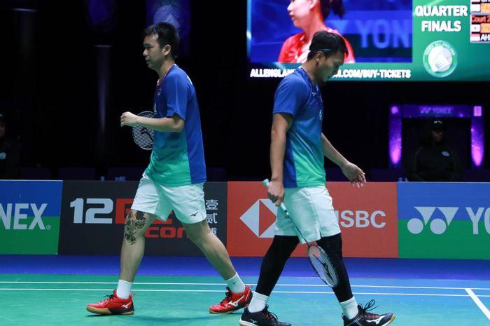 Pasangan gaanda putra Indonesia, Mohammad Ahsan/Hendra Setiawan, pada perempat final All England Open 2020 di Arena Birmingham, Inggris, Jumat (14/3/2020).