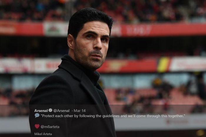 Juru taktik asal Spanyol, Mikel Arteta, saat melatih Arsenal.