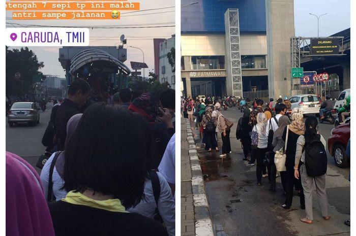 Transportasi Publik Dibatasi, Halte Transjakarta Langsung Membludak, Penumpang: Kalau Kaya Gini Makin Rentan Corona