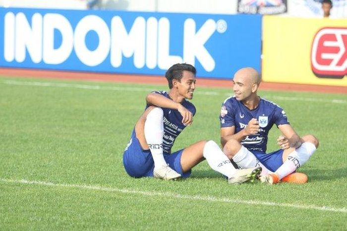 Kapten PSIS Semarang, Hari Nur Yulianto, usai mencetak gol ke gawang Arema FC, Sabtu (14/3/2020)