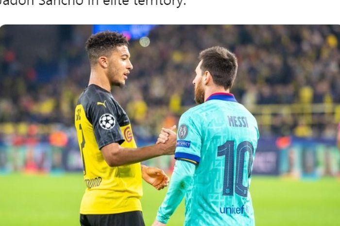 Pilar andalan Borussia Dortmund, Jadon Sancho, bersalaman dengan kapten Barcelona, Lionel Messi.