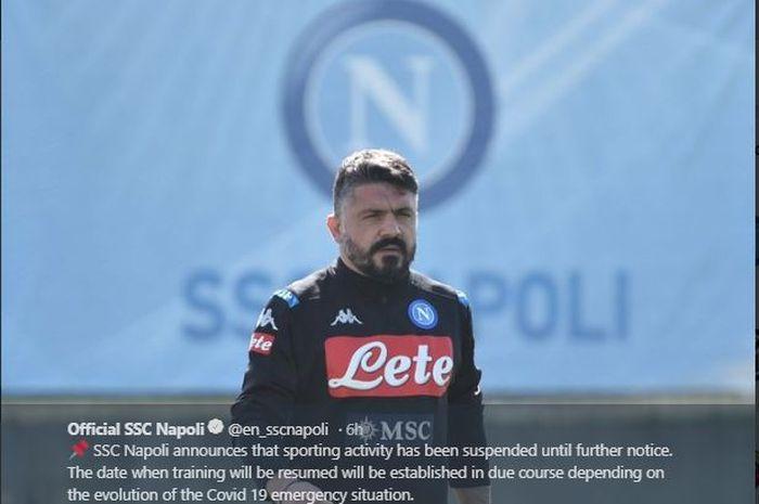 Pelatih Napoli, Genaro Gattuso, tidak jadi mengadakan bersama anak asuhnya setelah pihak klub menyatakan membatalkan latihan yang akan digelar Rabu (25/3/2020).