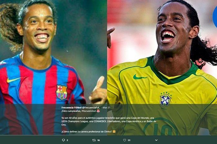 Kolase foto Ronaldinho yang kini tengah menghadapi kasus serius di Paraguay.