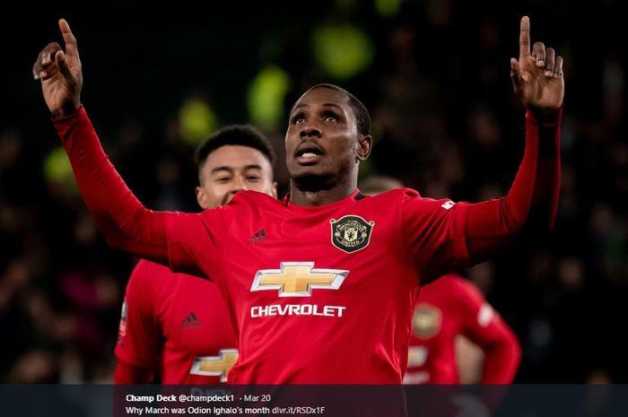 Penyerang pinjaman Manchester United dari Shanghai Shenhua, Odion Ighalo.