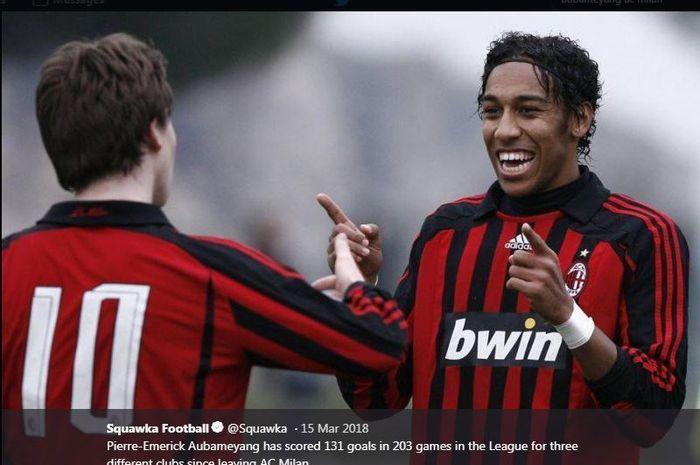 Pierre-Emerick Aubameyang saat membela AC Milan.