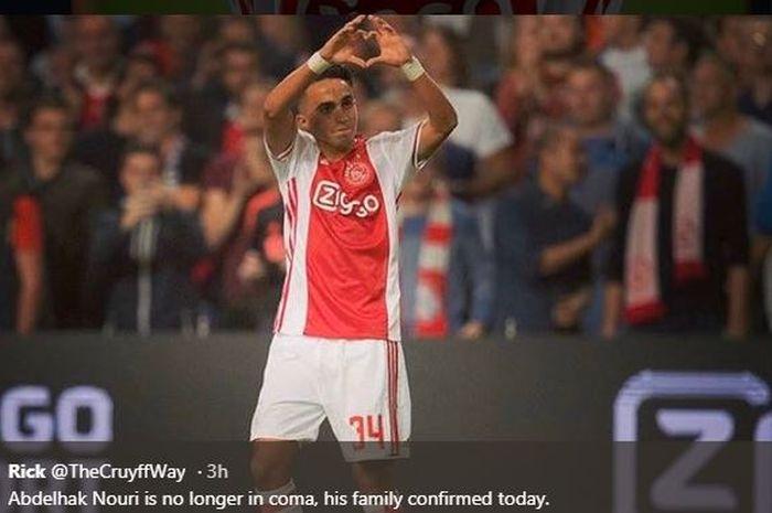 Abdelhak Nouri saat memperkuat Ajax Amsterdam.