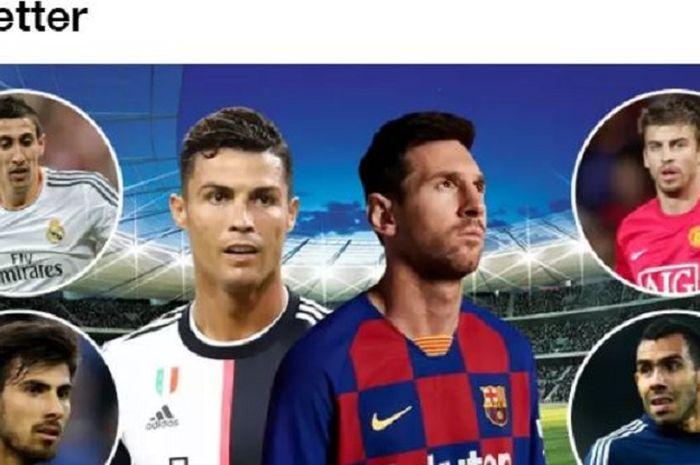 Megabintang Juventus, Cristiano Ronaldo, dan megabintang Barcelona, Lionel Messi.