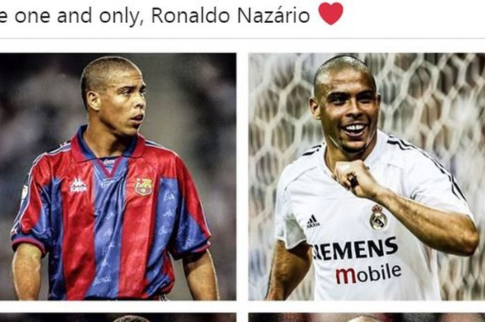 Striker legendaris timnas Brasil, Ronaldo Luiz Nazario de Lima, menggunakan kostum Barcelona dan Real Madrid.