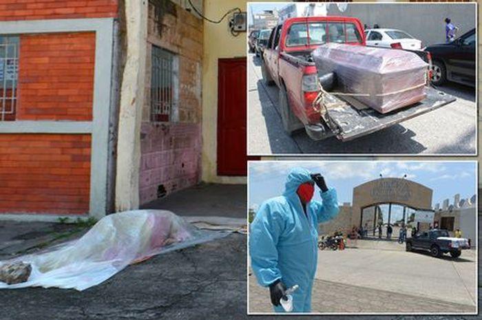 Mayat-mayat dibiarkan tergeletak di jalanan.