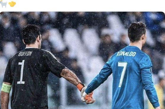 Gianluigi Buffon dan Cristiano Ronaldo berpegangan tangan seusai laga leg pertama perempat final Liga Champions antara Juventus dan Real Madrid di Stadion Allianz, 3 April 2018.