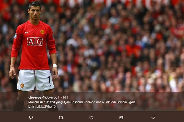 Megabintang asal Portugal, Cristiano Ronaldo, saat masih mengenakan seragam Manchester United