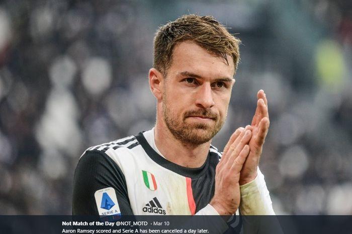 Gelandang tengah Juventus yang didatangkan dari Arsenal, Aaron Ramsey.